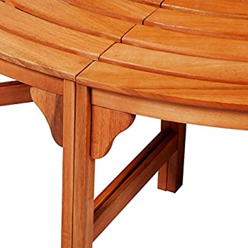 Festnight Circular Wrap Around Tree Bench Hardwood Finish