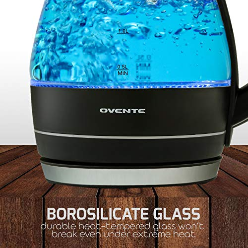Ovente BPA-Free Glass Electric Kettle, Fast with Boil-Dry Protection, Light Black