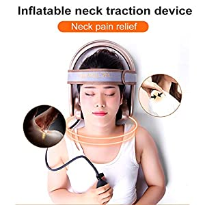 WOOLALA Cervical Neck Traction Device, Chronic Neck Pain Relief Muscle Relax Pillow with Band Neck Curve Correct Home Neck Stretcher