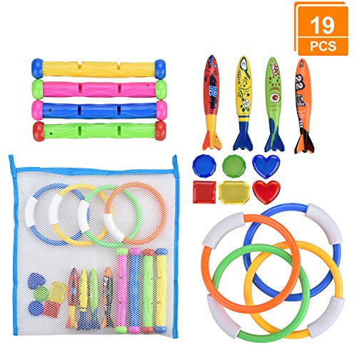 LinkBro [19 Pack] Diving Toys Set with Net Bag, Pool Toys for Kids & Swim Toys, Great Gifts &Toys for Boys and Girls, Ages 3, 4, 5, 6, 7, 8, 9, 10, 11, 12