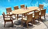 Cheap New 9 Pc Luxurious Grade-A Teak Dining Set – 117″ Double Extension Oval Table 8 Giva Arm / Captain Chairs #WHDSGVd
