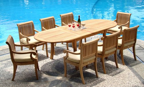 (New 9 Pc Luxurious Grade-A Teak Dining Set - 117