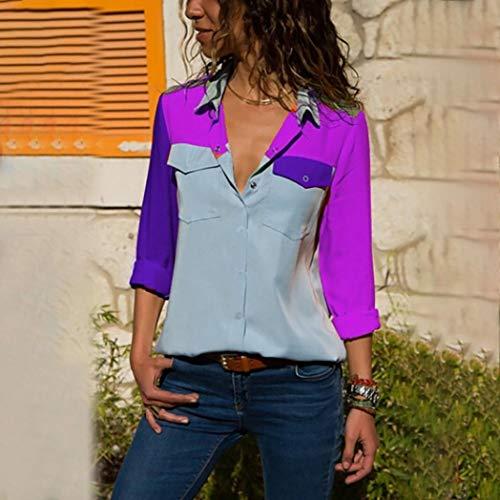Couleur Femmes Bouton Manches de Mode Chemises d'automne de Bloc Blouse laches Violet Bouton des DEELIN de Longues Poches AzBIIq