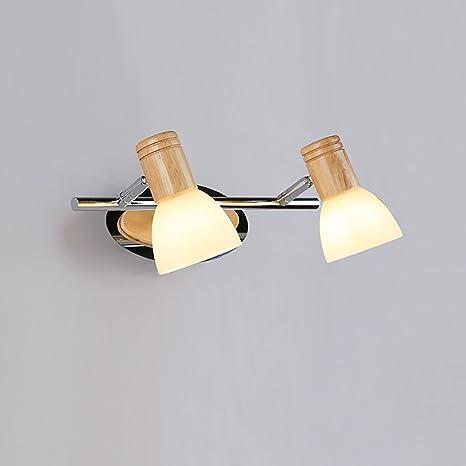Luci da specchio Lampada da parete creativa da bagno in legno a ...
