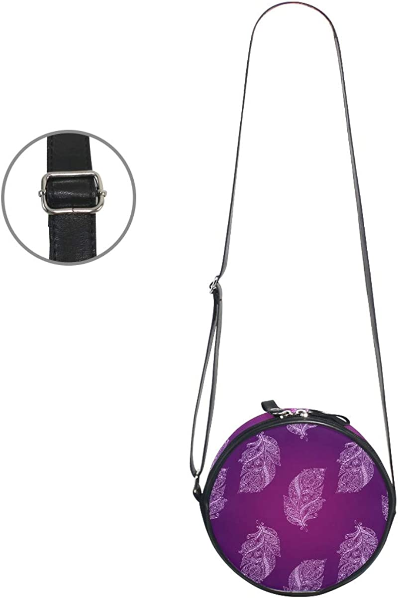 KEAKIA Purple Feathers Round Crossbody Bag Shoulder Sling Bag Handbag Purse Satchel Shoulder Bag for Kids Women