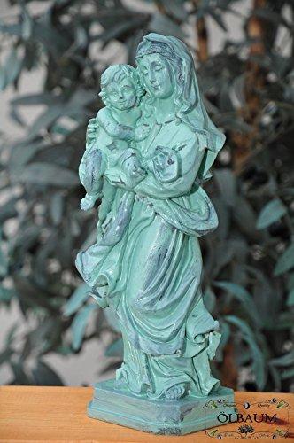 36 - 38 cm, antiguo de-verde, Santa Maria, & teñirse - gran madre de Dios con el niño Jesús, virgen y como símbolo de la inocencia y la puro concepción ...