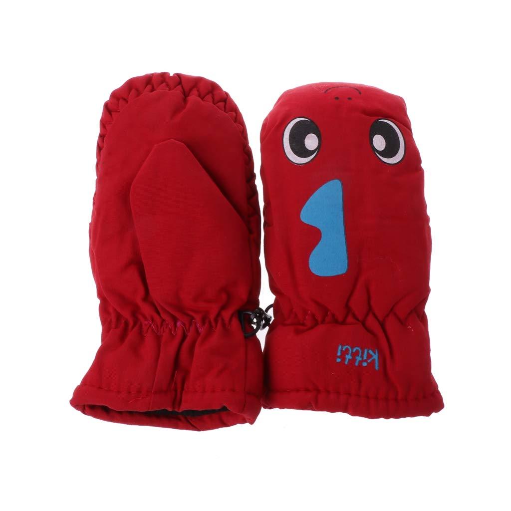 Cuigu 2-5 Ans Bébé Mitaine pour Hiver Enfants Garçons Filles en Plein Air Neige Snowboard Gants Chauds imperméable Coupe-Vent (Rose)