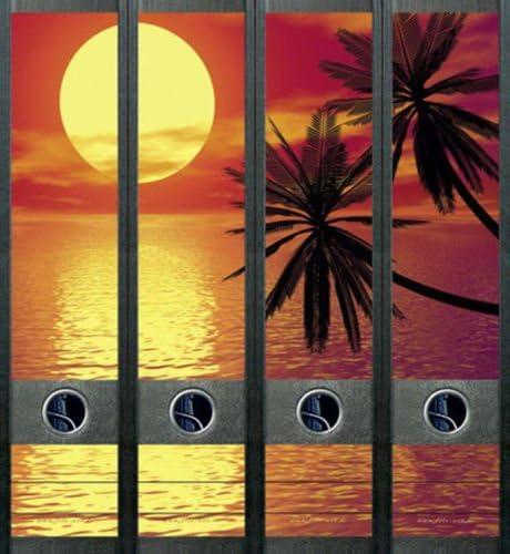 4er Set Ordnerr/ücken f/ür breite Ordner Sonnenuntergang Urlaub Aufkleber Etiketten Deko 433