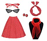 50's Costume Accessories Set Girl Vintage Dot Skirt Scarf Headband Earrings Cat Eye Glasses for Party (2XL, Red)