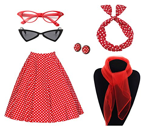 50's Costume Accessories Set Girl Vintage Dot Skirt Scarf Headband Earrings Cat Eye Glasses for Party (L, Red)