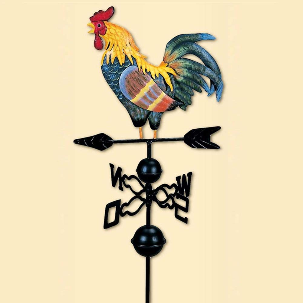 Vintage Rooster Weather Vane Metal Iron Wind Speed Spinner Direction Indicator Garden Ornament Decoration Patio Yard 120cm