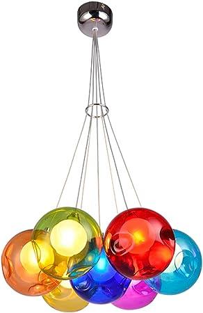 Canciones Lámpara de Bola de Burbuja de Cristal de Color LED Línea de suspensión Ajustable Lámpara