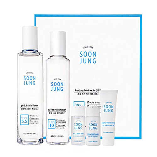 ETUDE HOUSE Soonjung Skin Care 2 Set (Free Toner + Emulsion + Cream) - Hypoallergenic Skin Soothing and Moisturizing Skincare for Sensitive Skin