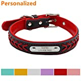 #6: LaReine™ Personalized Leather Dog Collar, Braided Soft Leather Name Plated Dog Collars for Small Medium Large, Custom Engraved On Collar Pet ID Tags for Cat and Dog [ XS, S, M, L, XL ] Red