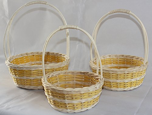 RT410547YL-3: WICKER/RATTAN FLOWER BASKETS OR EASTER BASKETS OR GIFT BASKETS IN GOLDENROD DOUBLE BAND ON CREAM DESIGN