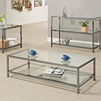 Coaster 720228 Home Furnishings Coffee Table, Black Nickel