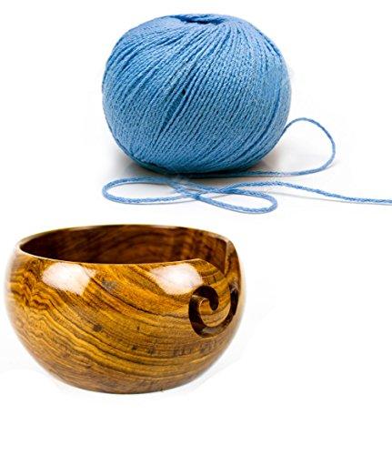 Premium Rosewood Crafted Wooden Portable Yarn Bowl | Knitting Bowls | Crochet Holder | Nagina International (6 x 6 x 3 Inches)