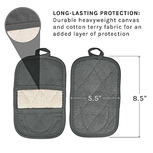 Ritz Royale Collection 100% Cotton Terry Cloth Ritz Mitz, Dual-Function Pot Holder / Oven Mitt Set, 4-Pack, Graphite by Ritz (Image #3)