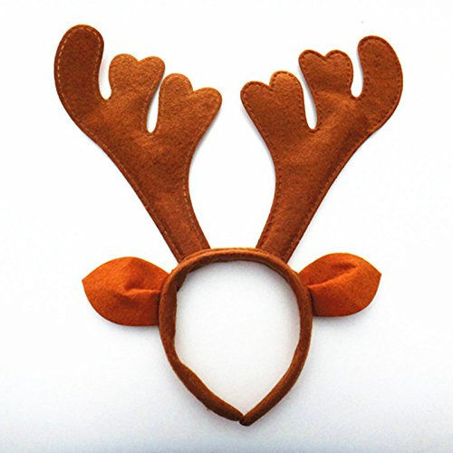 Zehui Christmas Party Decoration Gift Brown Ear Antlers Deer Horn Headwear
