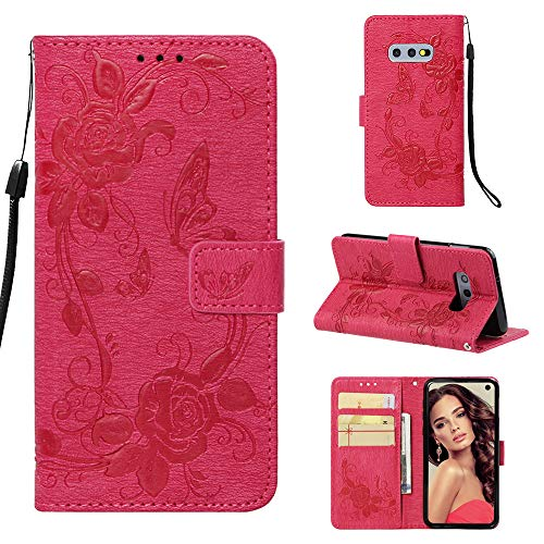 - Galaxy S10e Case, ZERMU Premium PU Leather Flower Butterfly Pattern Flip Folio Wallet Case with Kickstand Card Holder ID Slot and Hand Strap Shockproof Protective Cover for Samsung Galaxy S10e 5.8