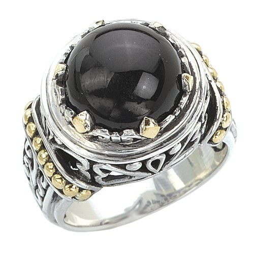 925 Silver & Round Onyx Cabochon Ring with 18k Gold Accents- Size 6