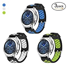 Samsung Gear S3 Frontier / Classic Watch Band,Hagibis 22mm Solid Stainless Steel Metal Business Replacement Silicon Bands for Samsung Gear S3 Sports Smart Watch Fitness (3 Pack-A)