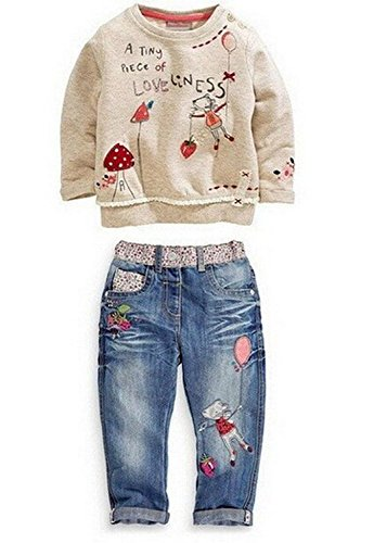 Baby World Baby Girl Long Sleeve Floral Top+Jean Pants Outfit Set (2-3T, Blue) 100
