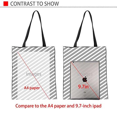 Upetstory Canvas Tote Bag Lovely Cat Animal Print Handbag for College Girls Women Shopping Beach Travel Bag by Upetstory (Image #3)