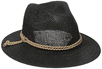 San Diego Hat Company Women's Fedora with Faux Suede Braided Band,Black,One Size