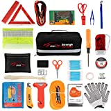 STDY 57-in-1 Car Emergency Roadside Kit, Winter Auto Vehicle Safety Emergency Road Side Assistance Kits with Jumper Cables, Tow Rope, Warning Triangle, Tire Pressure Gauge, etc