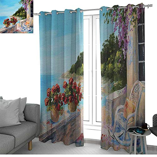 LewisColeridge Decorative Curtains for Living Room Seascape,Sea View Balcony with Cosy Rocking Chair Flowers in Summer Sky Oil Painting Style,Multicolor,Blackout Draperies for Bedroom 52
