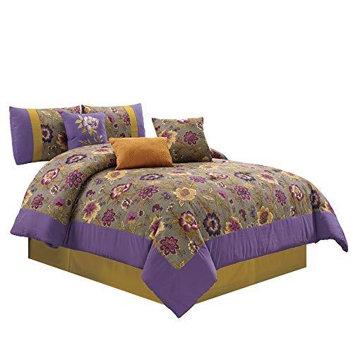 7-piece Gray Purple Flower Garden Bedding Comforter Set (King) from Chezmoi Collection