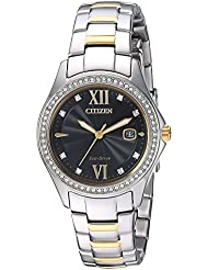 Citizen Womens Eco-Drive Quartz Stainless Steel Casual Watch, Color:Two Tone (Model: FE1144-85E)