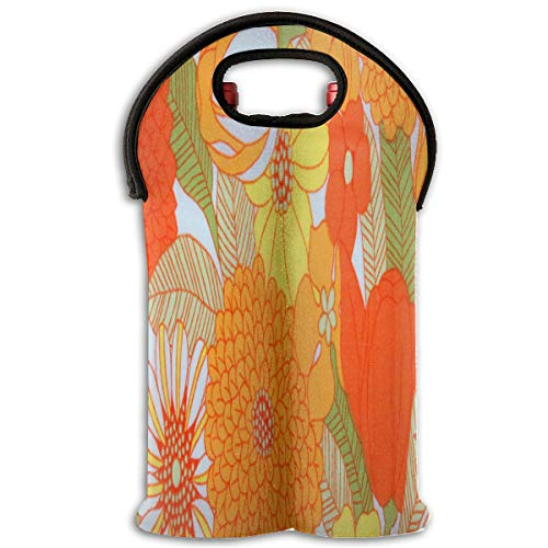Wine Bag Orange And Green Floral 2 Bottle Red Wine Tote Bag Cooler Water Travel Bag