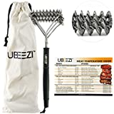 Ubeezi BBQ Brush Bristle Free Gas Grill Cleaner - Helix-Flex Non Wire Cleaning Scraper for Char Broil & Charcoal - Portable Stainless Steel Design w/Magnetic Temperature Guide & Canvas Travel Bag by