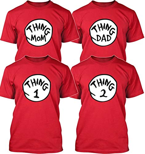 DR. Seuss Thing 1 Thing 2 Thing MOM Thing DAD Shirt - Thing 1-6 Adult Size S - 5XL - Thing 1 Thing 2 Funny Shirt (L, Thing 2) Red
