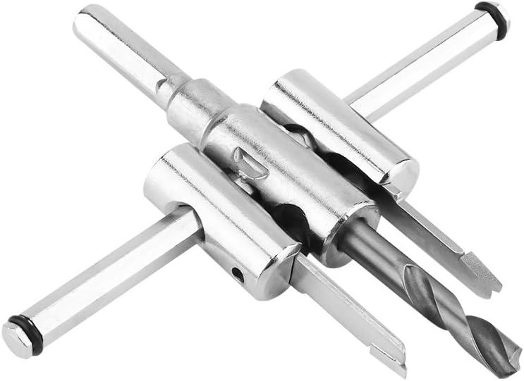 Cortador de Orificio Ajustable de 30-120 mm Herramienta de Carpinter/ía con Sierra Circular Burset DIY Cortador Circular Plata