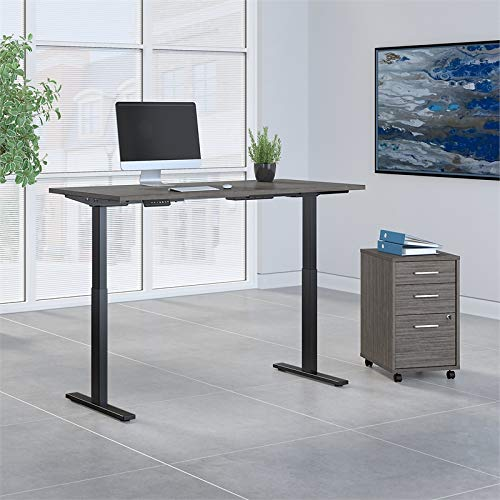 Move 60 Series by Bush Business Furniture 72W x 30D Height Adjustable Standing Desk with Storage in Cocoa with Black Base