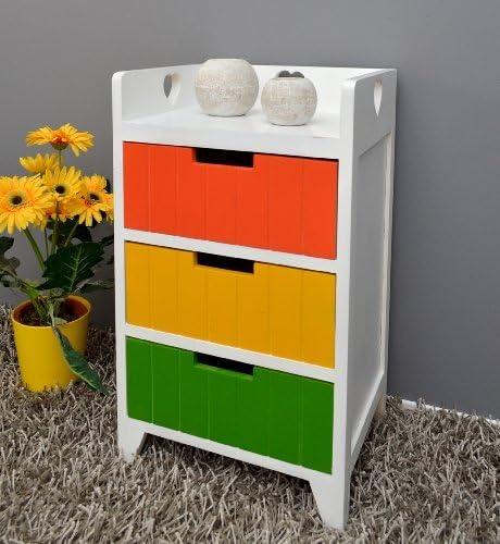 Cómoda blanca con 3 cajoneras de vivos colores verde, naranja yamarillo para pasillo, baño,cocina: Amazon.es: Hogar