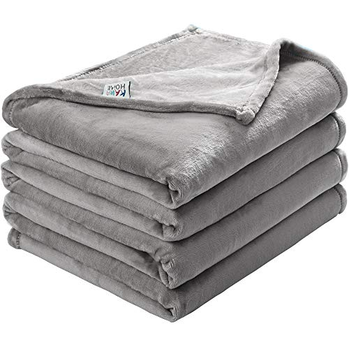 Solid Microfiber - kawahome Light Grey Twin Flannel Fleece Luxury Throw Blanket Super Soft Plush Microfiber Solid Fabric Cozy Fuzzy Blanket for Bed Lightweight Couch/Sofa Blanket (66 x 90 Inch)