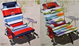 2 Tommy Bahama 2015 Backpack Cooler Chairs with Storage Pouch and Towel Bar (1 red striped and 1 multicolor)