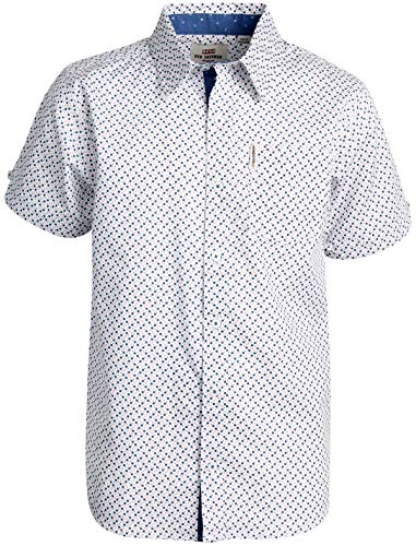 Ben Sherman Boys Short Sleeve Button Down Woven Shirt (White/Blue/Red Boxes, 10/12)'