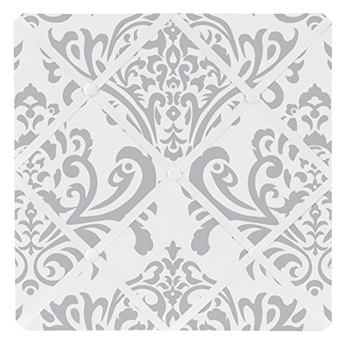 Sweet Jojo Designs Gray and White Damask Fabric Memory/Memo Photo Bulletin Board