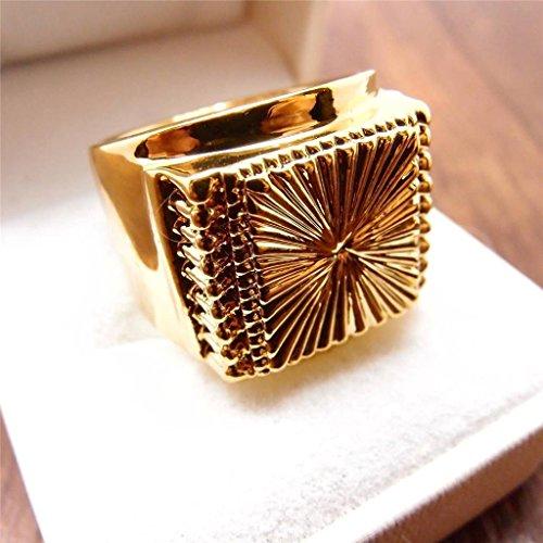 A.Yupha Men Jewelry Hip Hop 14K Yellow Gold Filled Boy Heavy Men's Ring R70 9#-11# (10)