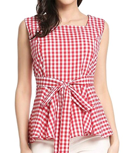 CMC Womens Sleeveless Plaid Bowknot Front Ruffle Blouse T-Shirt Top Red X-Large (Front Ruffle Plaid Shirt)