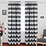Deconovo Nautical Rod Pocket Blackout Curtains Thermal Insulated Blackout Drapes Curtains for Bedroom 52W X 95L with Wave Stripes Pattern Grey 2 Panels