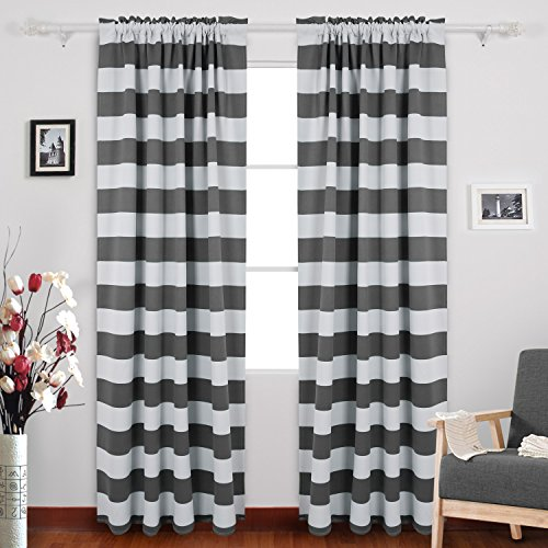 Deconovo Gray Striped Blackout Window Curtains Thermal Insulated Grey and Greyish White Striped Curtains for Bedroom 52W X 84L Gray 2 Panels
