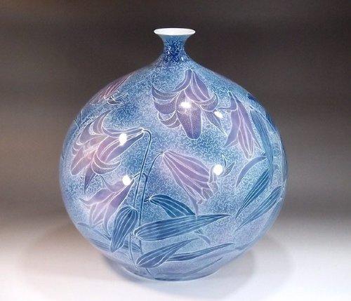 有田焼伊万里焼|花瓶陶器花器壺|贈答品|高級ギフト|記念品|贈り物|墨弾き百合藤井錦彩 B00HQUJS8M