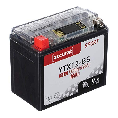 Accurat motorfiets-accu YTX12-BS 12Ah 180A 12V gel-technologie + lcd-display startaccu krachtig robuust…