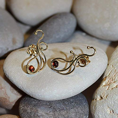 3mm Garnet STUD EARRINGS Gold // 20g Cartilage Earrings - Garnet Post Earings - Cartilage Stud - Helix Earring - Conch Piercing ()